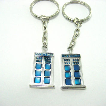 Best Friends Tardis Keychain Set  Couples Doctor Who  Keychain  Set Police Box Keychain  Pair  Whovian Keychain Whovian Keychain