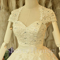 Sequins Lace Applique Strapless Sheer Straps Backless A-Line Long Wedding Celebrity dress ,Tulle Evening Party Prom Dress Homecoming Dress
