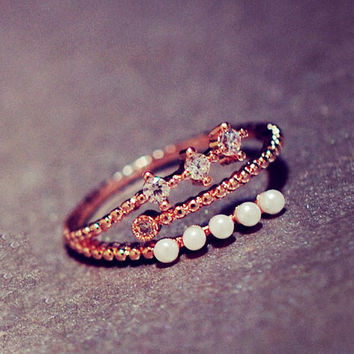 Pearl and Rhinestone String Cuff Ring (Slightly Adjustable) - LilyFair Jewelry