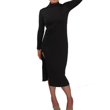 Dress For Women Sexy Open Fork Turtleneck Long Sleeve Bandage Bodycon Knee-Length Dress vestidos femininos INY66