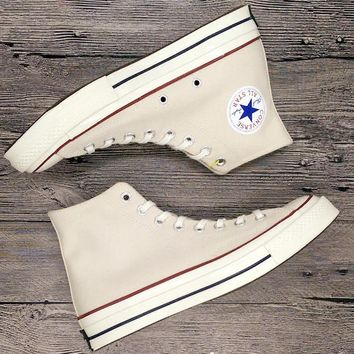 """Converse"" Fashion Canvas Flats Sneakers Sport Shoes Hight top Beige"