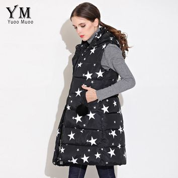YuooMuoo 2018 Long Vest Women Star Printed Casual  Vest Women Sleeveless Jacket Cotton Padded Down Vest coletes