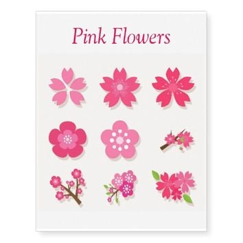 Pink Flowers Temporary Tattoos