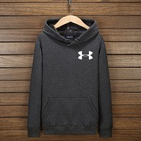 Under Armour Unisex Print Long Sleeve Sweater Pullover Hoodie Sweatshirt Top Dark Grey I-YSSA-Z