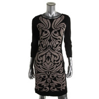 Nine West Womens Knit Pattern Sweaterdress