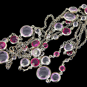 Bezel Set Faceted Lucite in Purple and Lavender Necklace Extra Long Silver Tone Chain 60 inches