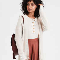 AE Super Soft Ribbed Cardigan, Oatmeal