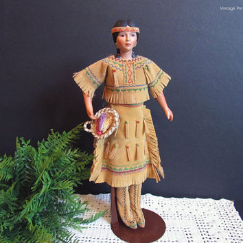 Vintage Native American Doll, Handmade Beaded Suede Leather Dress, Porcelain Doll, Indian Doll