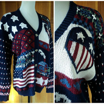Vintage 80s Americana Sweater Ugly Patriotic Flag Cabin Hearts Country Oversize Cardigan Hand Embroidered Cotton L 38 Bust