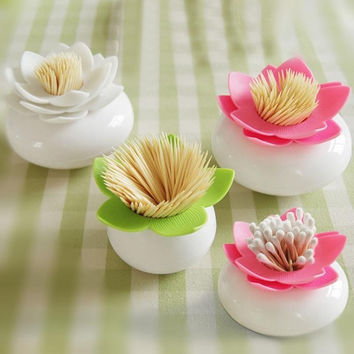 Colorful Durable Cotton Swab Toothpick Holder Case Bud Box Lotus Vase Decorating = 1930503556