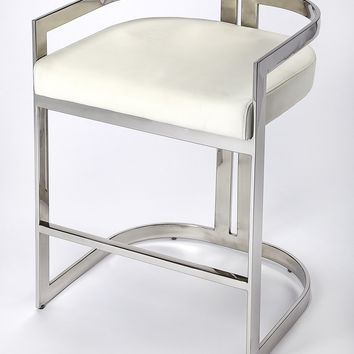 Bravo Silver & White Faux Leather Counter Stool