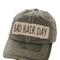 Bad Hair Day Distressed Baseball Cap Hat Olive Green, Embroidered On Torn Denim Decor