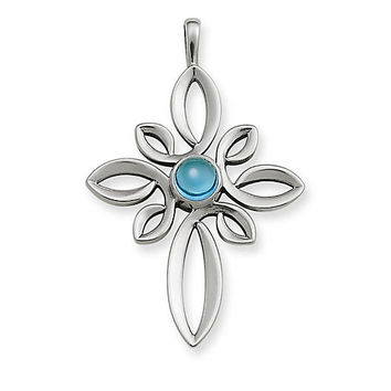 Radiant Loops Cross with Blue Topaz