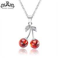 Rinntin Real 925 Sterling Silver Jewelry Red Natural Stone Cherry Pendant Necklaces Cute Chain Necklace Charm Jewelry Hot TSN03