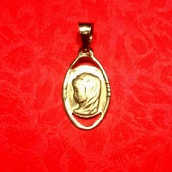 New 14K YELLOW GOLD MIRACULOUS MEDAL CHARM  BLESSED VIRGIN MARY PENDANT 11 mm