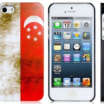 Singapore Flag Plastic Case for iPhone 5S/S