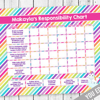 Chore chart for kids, Unicorn Chore Chart, Incentive Chart, Allowance Chart, Weekly Chart, Behavior Chart, Chore Chart, YOU EDIT PDF