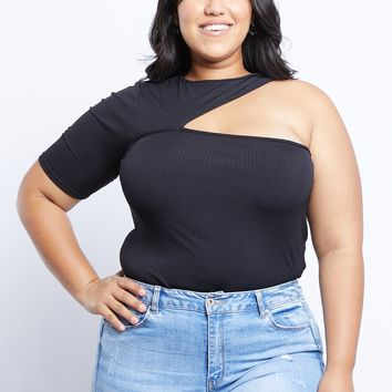 Plus Size Cut Out Shoulder Top