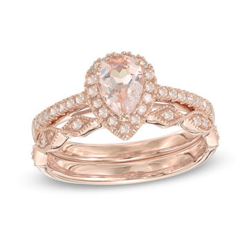 Pear Cut Morganite Halo Bridal Set in 14K gold, Bridal Set with Matching Band Morganite Engagement Ring in Vintage Style