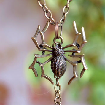 Spider Necklace Spider Jewelry Gothic Steampunk Pendant Tarantula spider Mens jewelry Unisex Halloween Necklace arachnophobia insect pendant