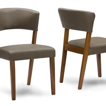 Baxton Studio Montreal Mid-Century Dark Walnut Wood Grey Faux Leather Dining Chairs Set of 2