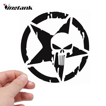 "Vingtank Star Skull Car Sticker Decals Cool Window Wall Creative Sticker Car Styling Motorcycle Accessories 4.6"" Dia."