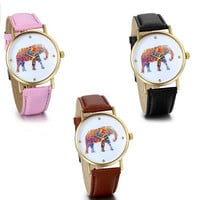 Colorful Elephant Print Coffee Black Pink Leather Quartz Ladies Girls Watches