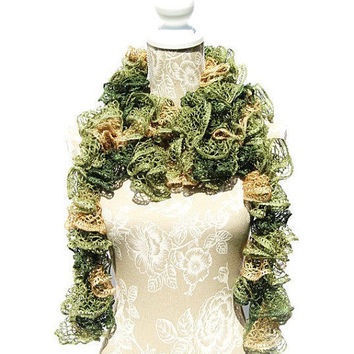 Pale Green Frilly Ruffled Scarf, Sashay Scarf, Crochet Scarf,Woman's Scarf, Handmade Scarf, Fashion Scarf, Gifts for Her, Ruffle Boa
