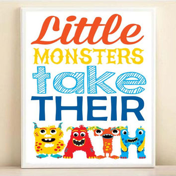 Kids Bathroom Art, Little Monsters Take Their Bath, Wash Their Hands, Brush Their Teeth, 8x10 11x14 Kids Bathroom Art Boy Bathroom Monsters