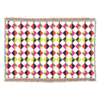 Bright Colorful Modern Geometric Diamond Pattern Throw