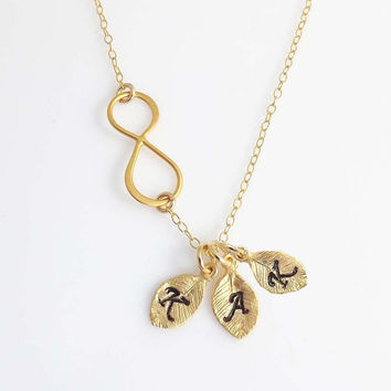 Personalized initial Infinity necklace -Initial charm- birthday, wedding, Mothers Day, friendship-Gold Filled necklace