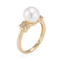 Belpearl Women's Cultured Pearl & Diamond Clover Ring - White - Size 7