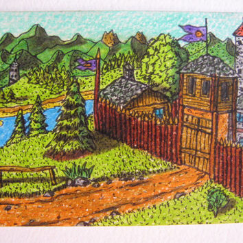 Original aceo drawing of a fantasy world fort camp, 'Monithaal  encampment ' ACEO illustration , Fantasy world series