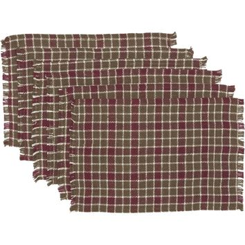 Everson Burlap Plaid Placemat Set 6 12x18