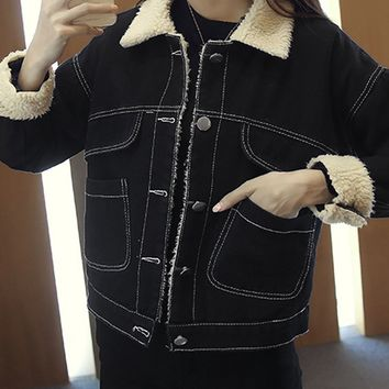 Black Lapel Embroidery Back Faux Shearling Lining Denim Jacket