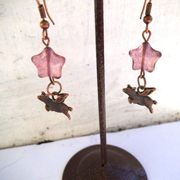 Copper Flying Pig Earrings with Purple Star Glass Beads, When Pigs Fly, Copper Winged Pigs