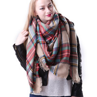 Tan Oversized Tartan Scarf - Blogger Favorite!