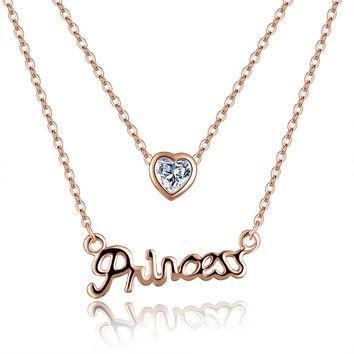 Rose Gold Plated with CZ stone 2 Layer Chains Princess Letter Necklace for Women Jewelry