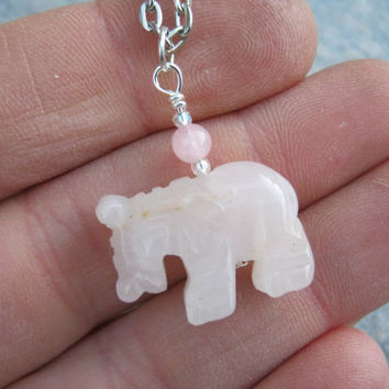 Rose Quartz Elephant Necklace, Pink Gemstone Pendant, Lucky Elephant Pendant, Dainty Elephant Jewelry, Choose Length, Silver Tone, CA2