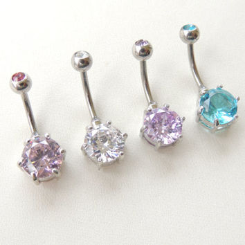 CZ Gemstone Belly Button Ring, Crystal Navel Rings, Gemstone Navel Rings, 14g Navel Barbell, Small Belly Ring, Navel Piercing. 600b