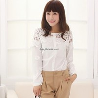Fashion Women spring summer Chiffon & lace Patchwork Blouse Elegant shirt Tops