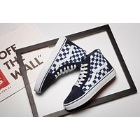 Vans JAPAN INDIGAO SK8-HI High White Navy Top Men Flats Shoes Canvas Sneakers Women Sport Shoes