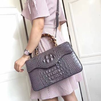 Fashion Luxury Branded Designer Genuine Crocodile Skin Female Women's Handbag Exotic Alligator Leather Ladies Wooden Handle Bag