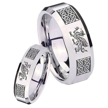 His Her Mirror Beveled Multiple Dragon Celtic Silver Tungsten Wedding Rings Set