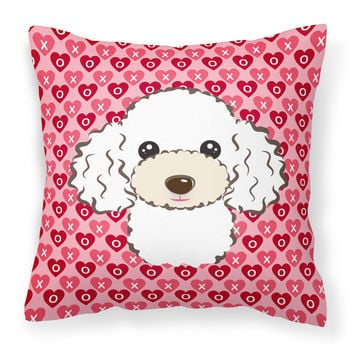 White Poodle Hearts Fabric Decorative Pillow BB5327PW1818