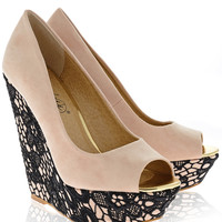 TIMELESS KARLIE Nude Lace Wedges - SHOES | HEELS | Wedges | PRET-A-BEAUTE.COM