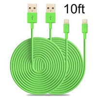Nocobot (TM) 2PCs 10ft Extended Extra Long 8 Pin to USB Sync and Charging Cable Charger Power Cord for iPhone 6/ 6 Plus, iPhone 5/ 5s/ 5c, iPod Touch 5th, Nano 7th, and iPad 4 Air Mini-Compatible with IOS 8 (Green Color)