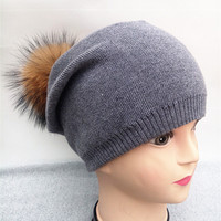 2016 Autumn winter beanies hat unisex knitted wool Skullies casual cap with real raccoon  pompom solid colors ski gorros cap