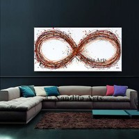 """Abstract Painting 48"""" Infinity Symbol Original Abstract Oil Painting, Multicolor Modern Style Large Modern Art on Canvas - Nandita Albright"""
