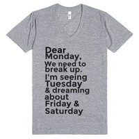 Dear Monday-Unisex Athletic Grey T-Shirt